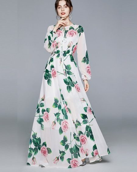 Vestido Floral Longo Manga Longa