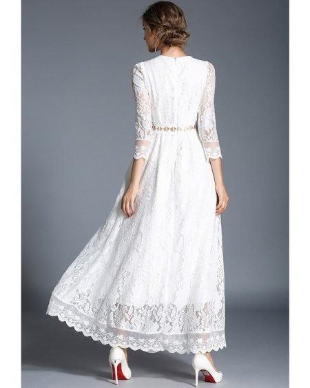 Vestido Longo Branco de Renda