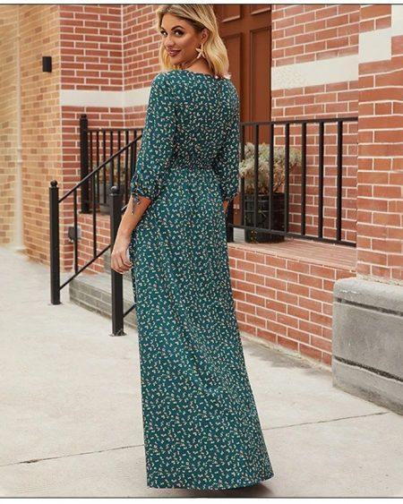 Vestido Longo Estampado Simples