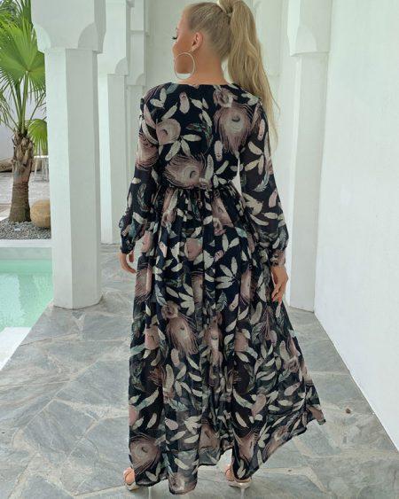 Vestido Longo Casual Floral com Fenda