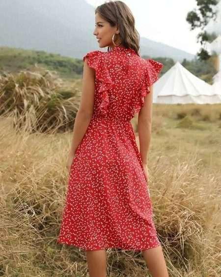 Vestido Midi Poa Vermelho