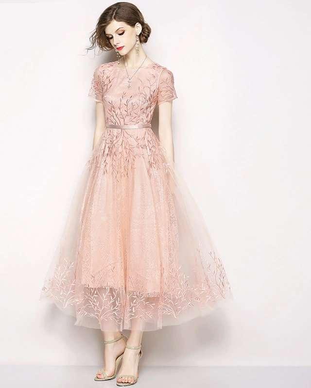 Vestido Midi Tule Bordado Rosa