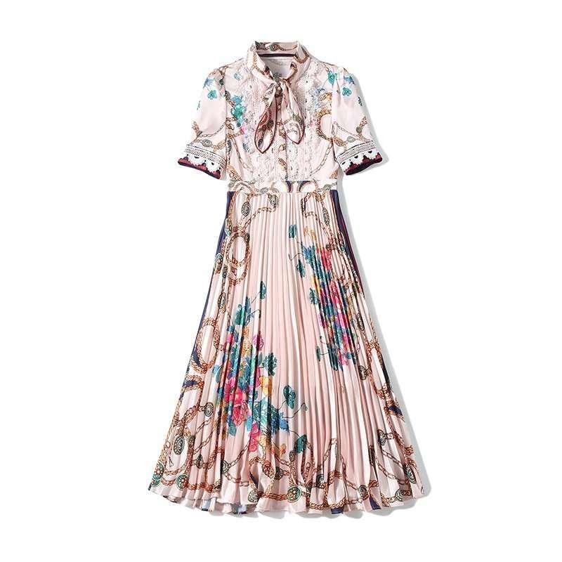 Vestido Plissado Midi Floral