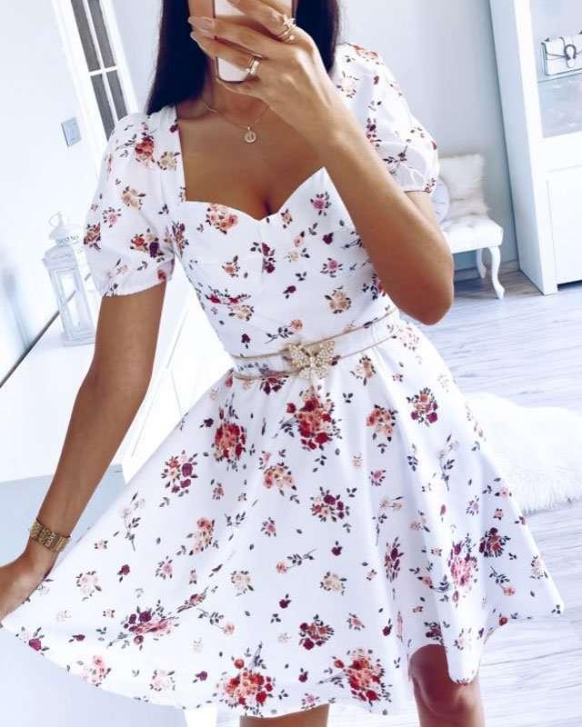 Vestido Rodado Curto Florido
