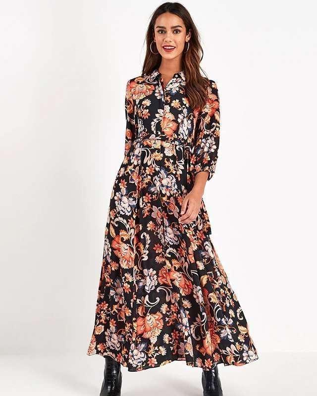 Vestido Longo Casual Manga Longa