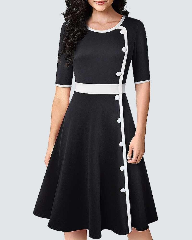 Vestido Midi Preto e Branco