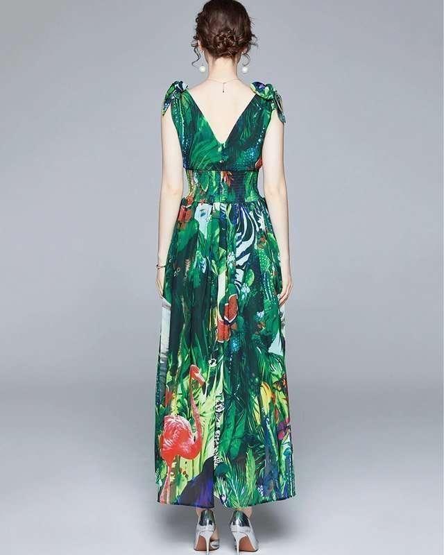 Vestido Verde Estampado Longo