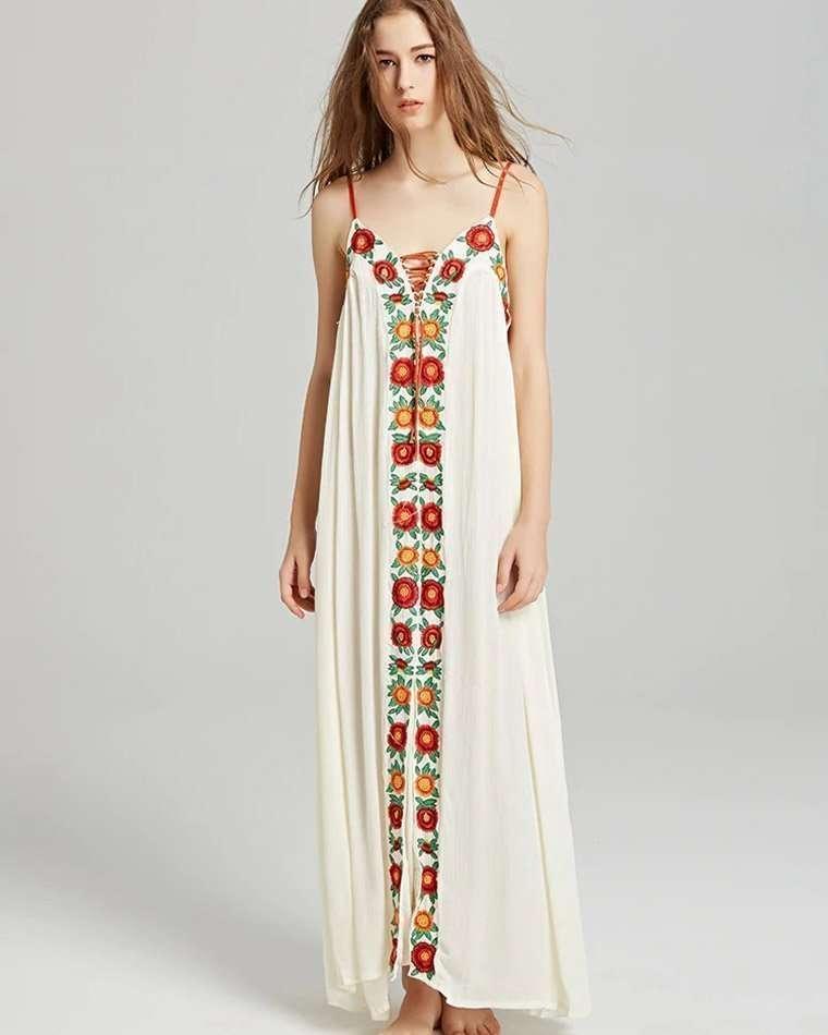 Vestido Indiano Branco Bordado Boho Hippie