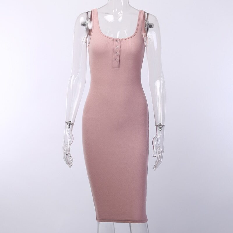 Vestido Malha Canelada Curto