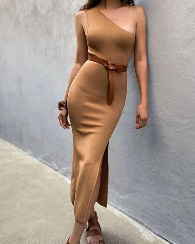 Vestido Malha Canelada Midi
