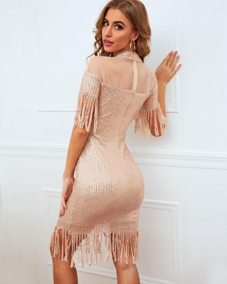 Vestido de Paete Rosa Curto