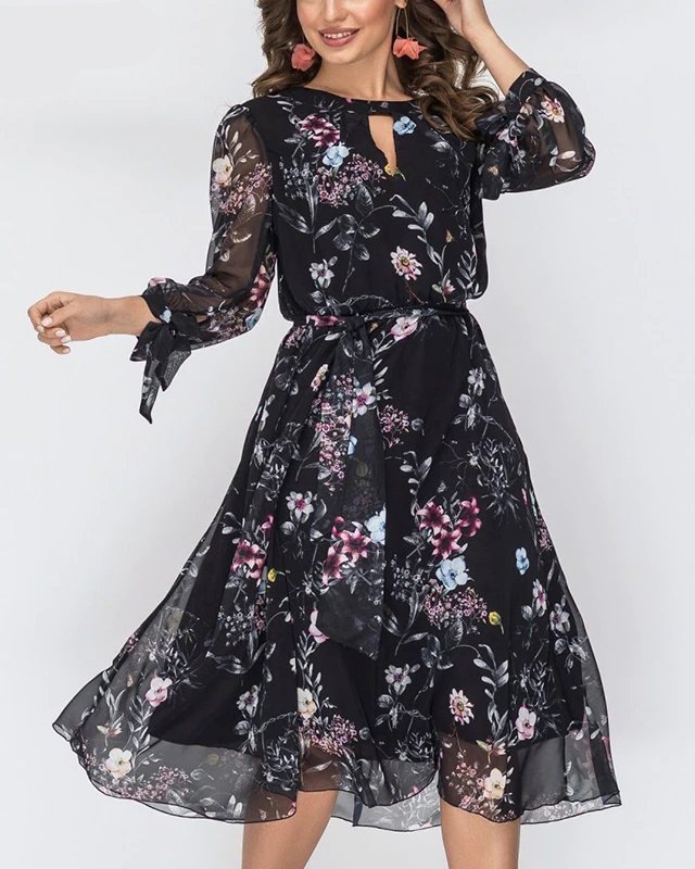 Vestido Midi Floral Manga Longa