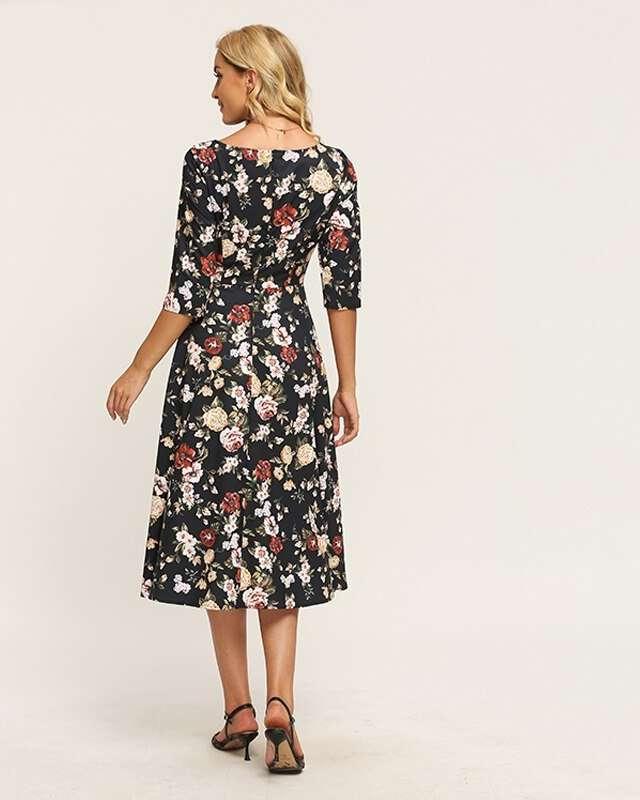 Vestido Midi Floral Preto