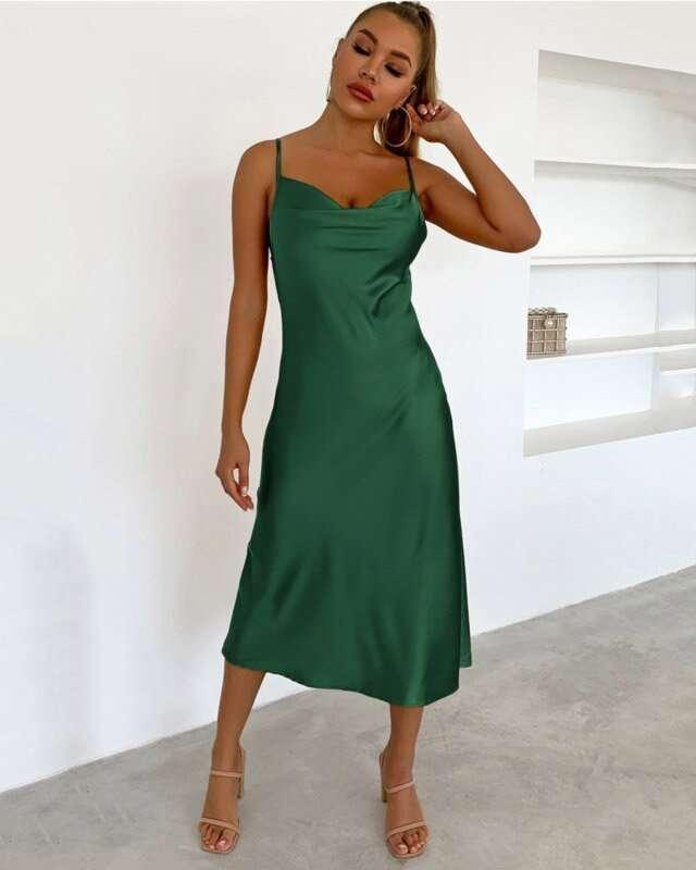 Vestido Midi Verde Esmeralda
